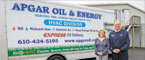 PHOTO CREDIT: CHRISTOPHER HOLLAND. Jane Apgar Domitrowits (secretary treasurer) and Jim Apgar (owner) of Apgar Oil Energy & HVAC oversee daily operations at the company in Allentown.